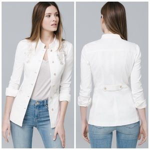 WHBM Embroidered White Field Military Jacket